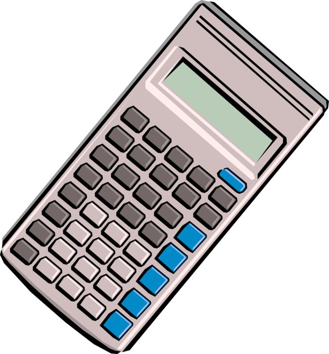 Vector Illustration of Calculator Portable Electronic Device Performs Basic Operations of Mathematics