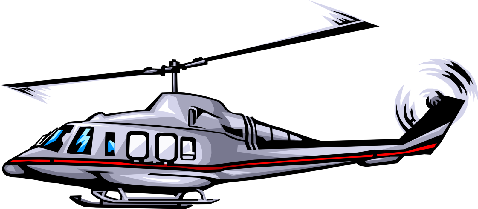 Vector Illustration of Helicopter Rotorcraft Applies Lift and Thrust Supplied by Rotors
