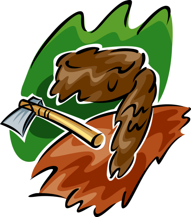 Vector Illustration of Axe Hatchet with Davy Crockett Coonskin Cap