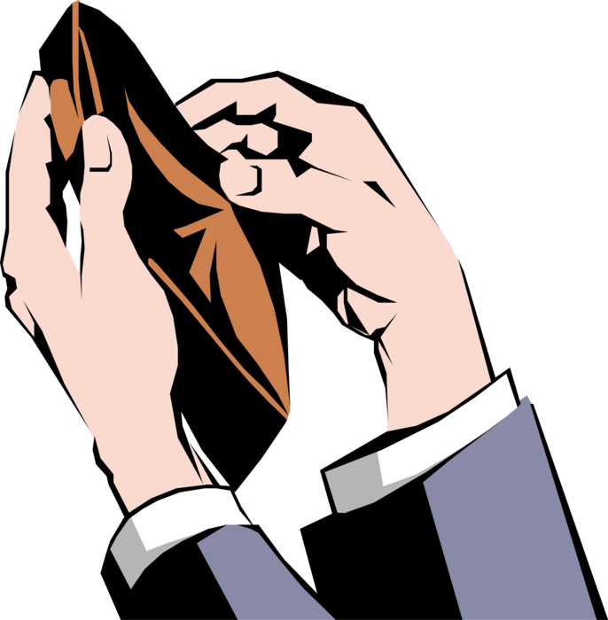 Vector Illustration of Male Hands Confirming Wallet is Empty