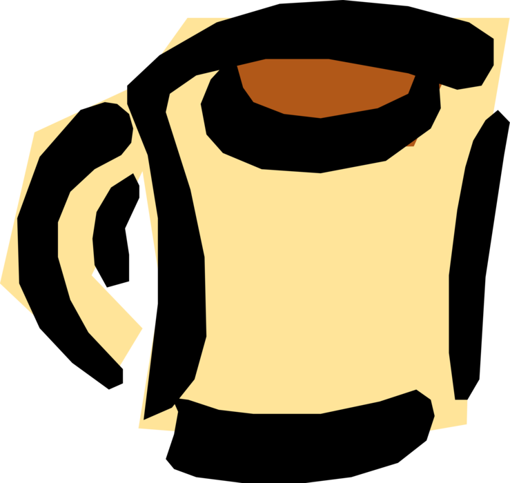 Vector Illustration of Cup of Hot Freshly Brewed Coffee Beverage Drink