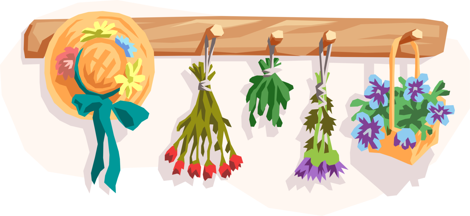 Vector Illustration of Coat Hanger with Dried Flowers and Summer Hat