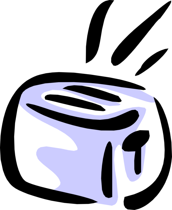 Vector Illustration of Small Electric Kitchen Appliance Toaster or Toast Maker