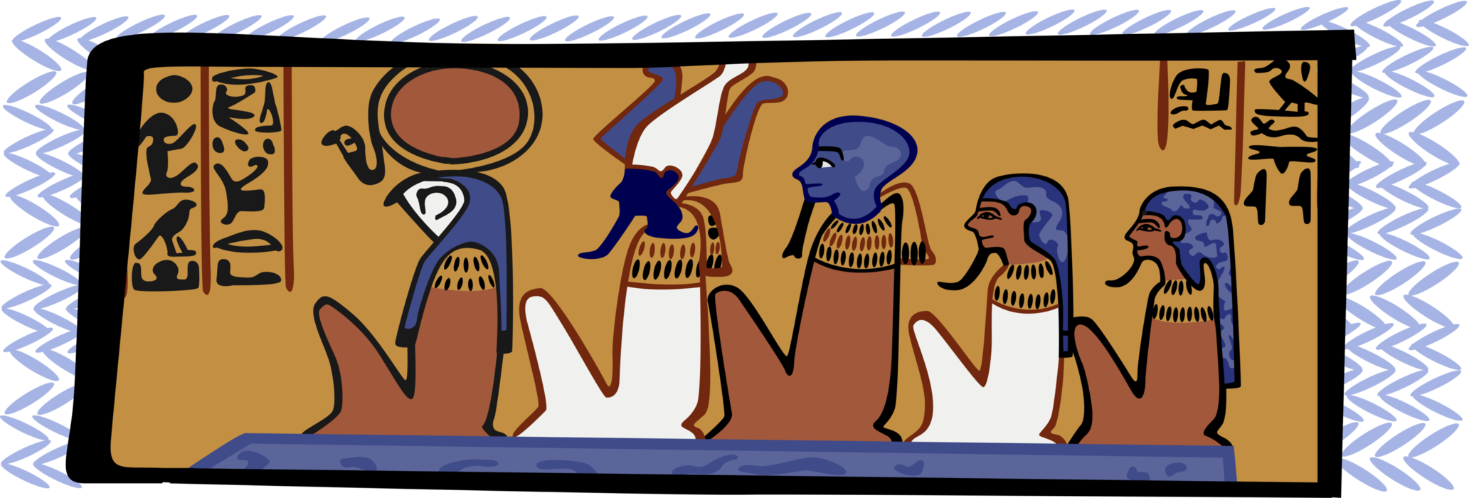 Vector Illustration of Ancient Egypt Egyptian Tomb Paintings