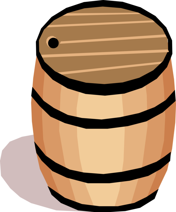 Vector Illustration of Barrel, Cask or Tun Made of Wooden Staves Bound by Hoops