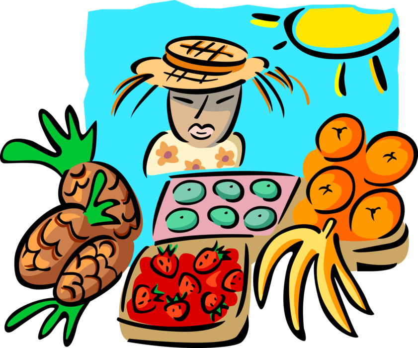 Vector Illustration of Outdoor Fresh Food Market Vendor with Pineapples Strawberries, Bananas and Oranges