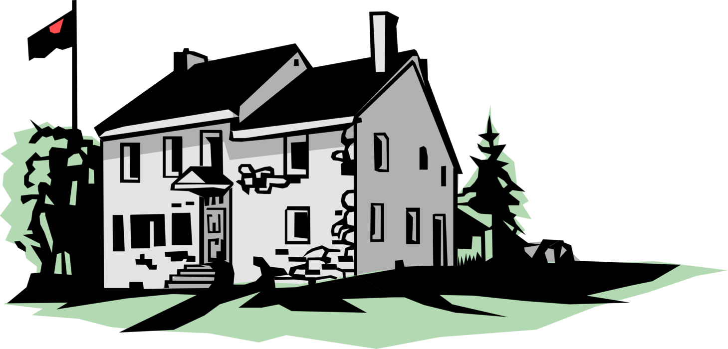 Vector Illustration of Stone Country House with Flag