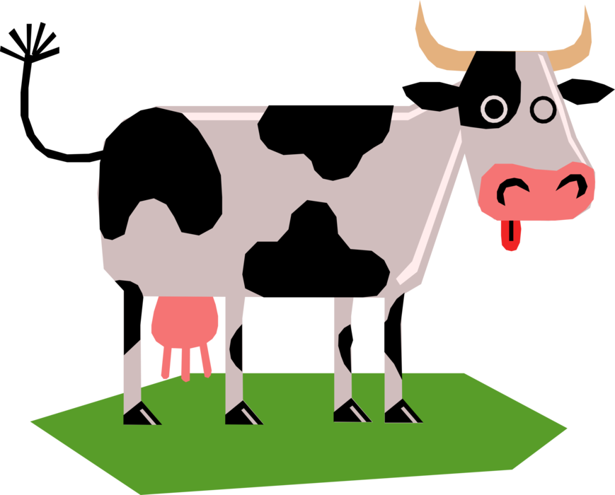 Vector Illustration of Farm Agriculture Livestock Animal Dairy Cow in Pasture