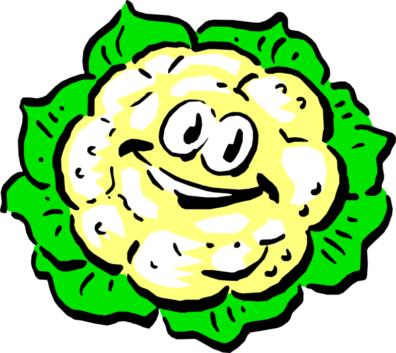 Vector Illustration of Anthropomorphic Edible Vegetable Head of Cauliflower