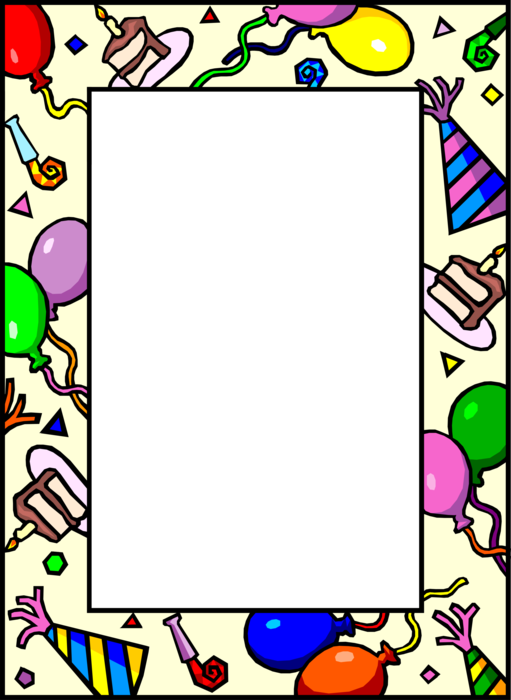 Vector Illustration of Birthday Party Border with Balloons and Cake