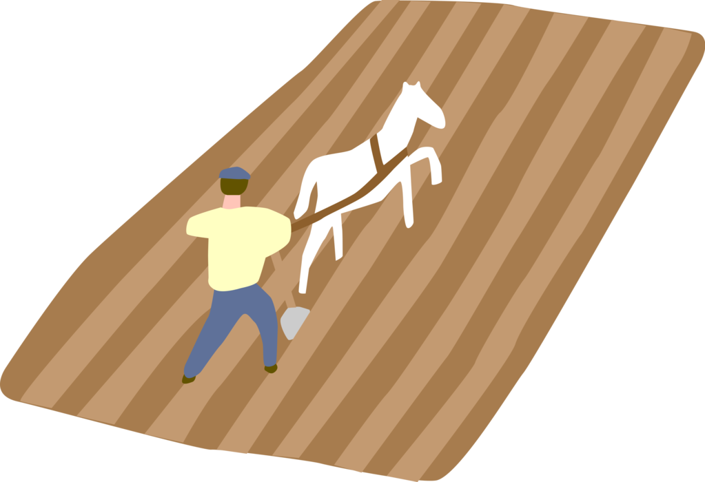Vector Illustration of Farmer Ploughing or Plowing in Field with Horse