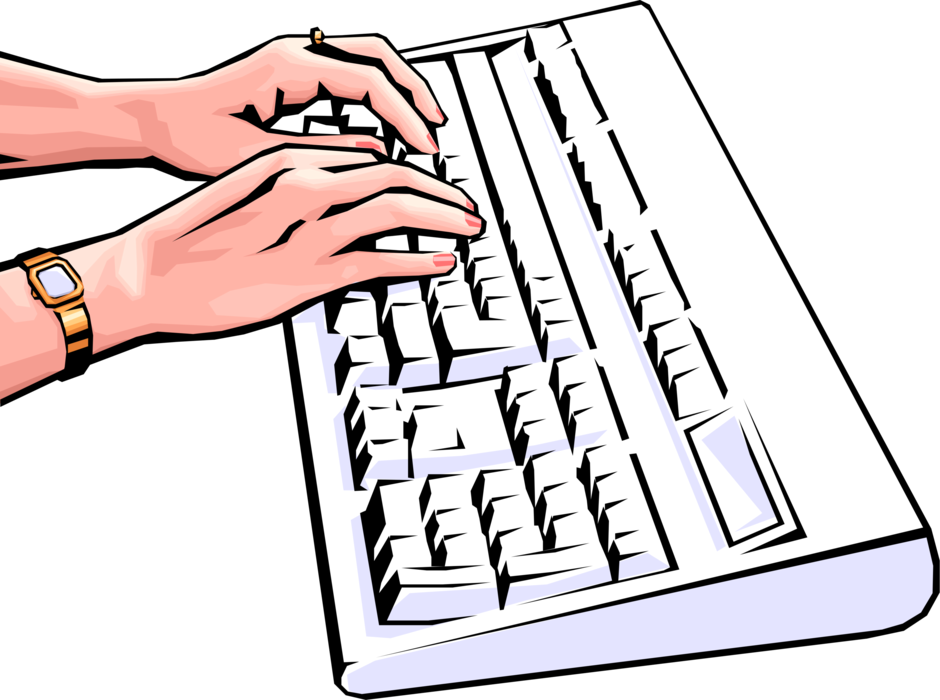 Vector Illustration of Female Hands Typing on Computer Keyboard