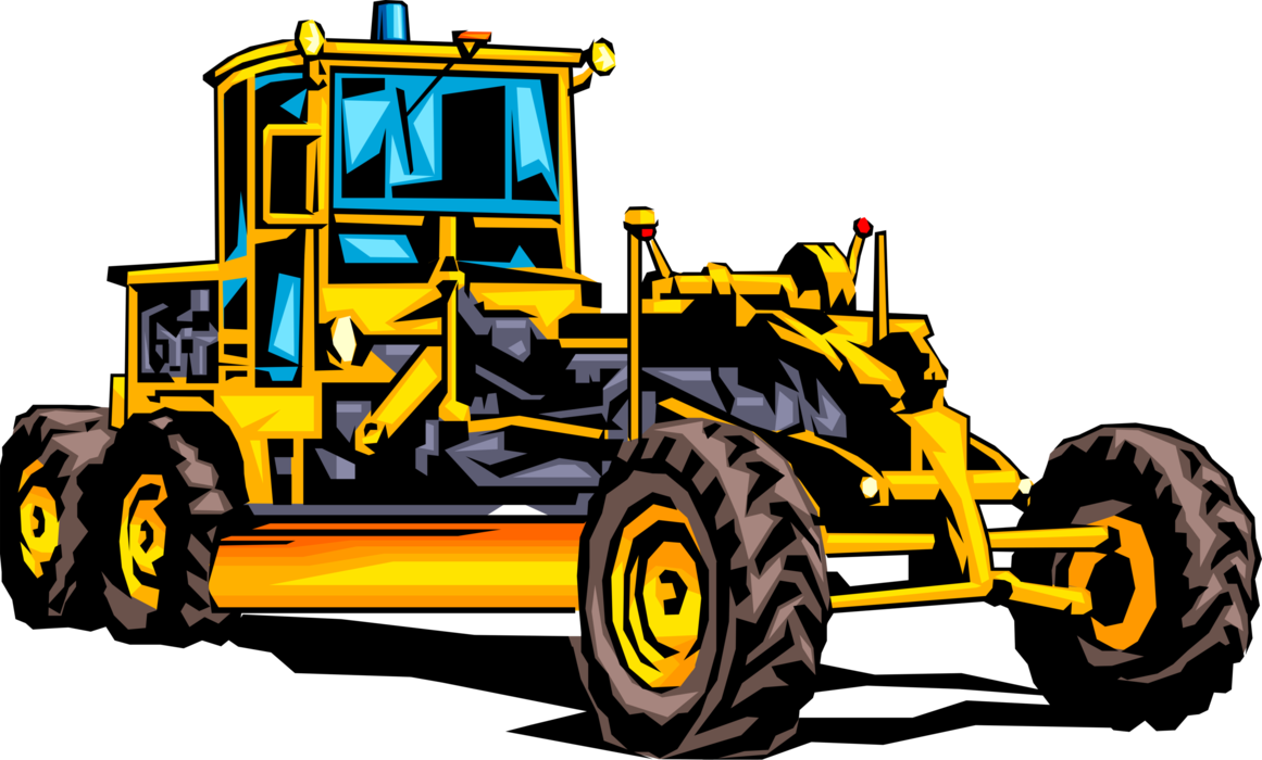 Vector Illustration of Construction Industry Heavy Machinery Equipment Road Grader