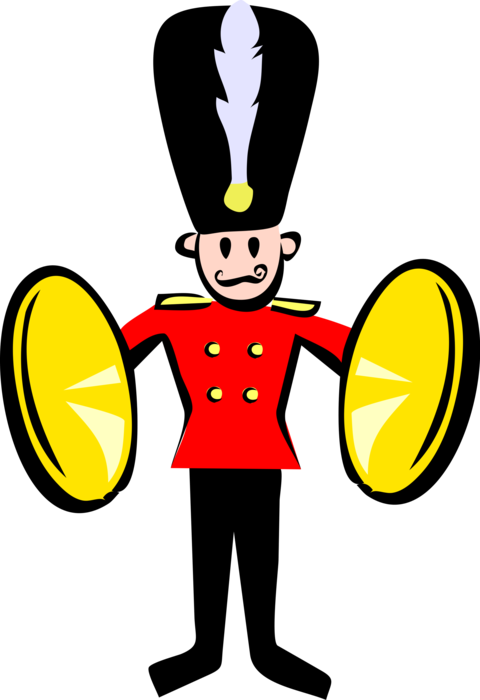 Vector Illustration of Child's Toy Soldier with Brass Cymbals in Royal Band