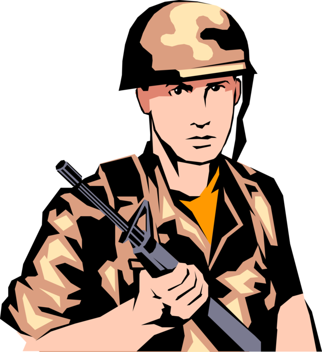 Vector Illustration of Armed Forces Military Combat Soldier Ready for Combat