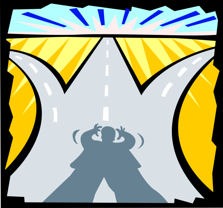 Vector Illustration of Business Decisions - Which Road to Take?