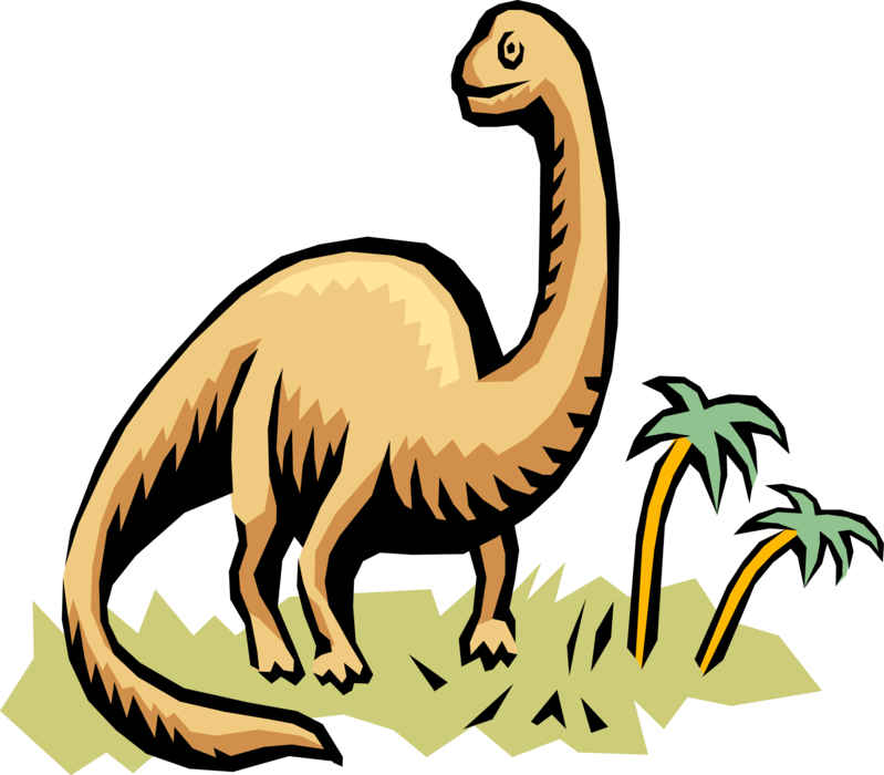 Vector Illustration of Prehistoric Brontosaurus Dinosaur from Jurassic and Cretaceous Periods