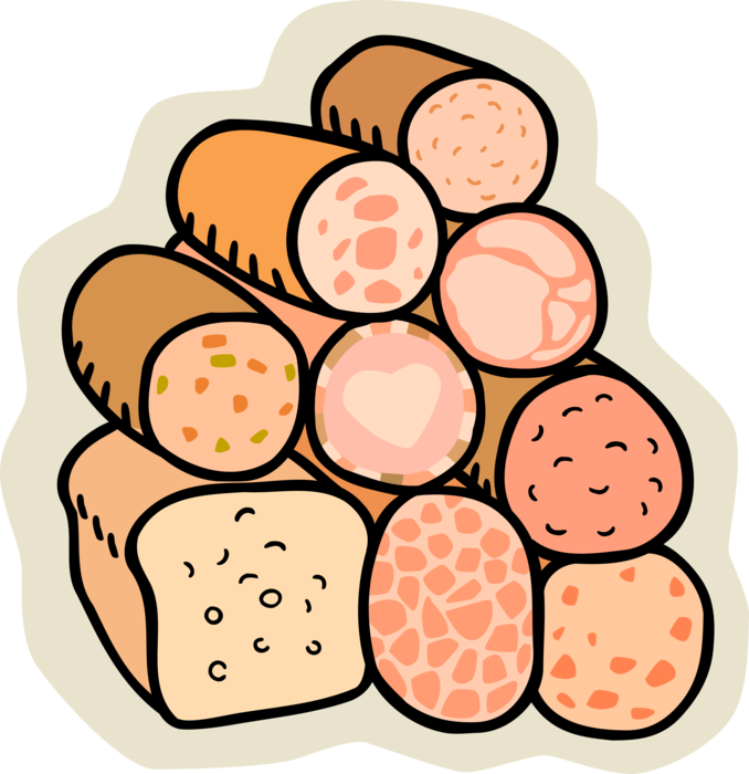 Vector Illustration of Deli Cured Sandwich Meats From Delicatessen