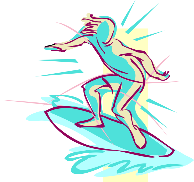 Vector Illustration of Surfer Surfing and Riding Waves with Surfboard