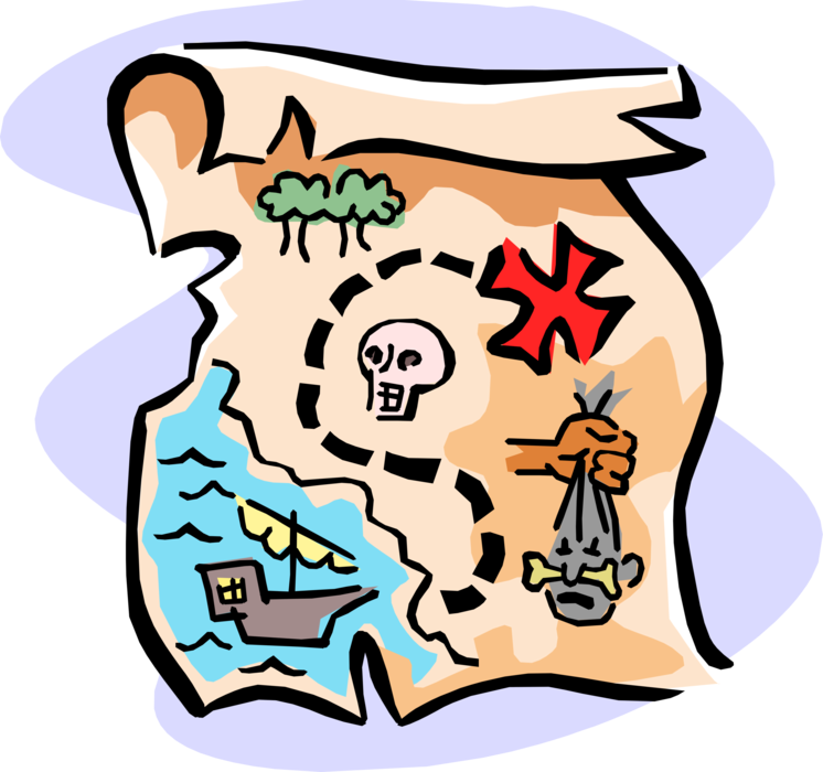 "Vector Illustration of Buccaneer Pirate's Treasure Map with Buried Treasure Location Marked with ""X"""
