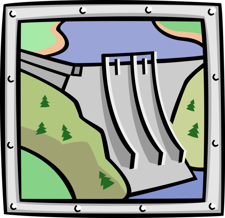 Vector Illustration of Hydroelectricity Power Generated by Hydropower Electric Dam Reservoir