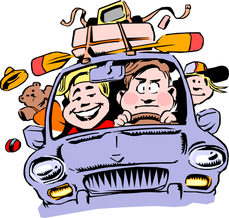 Vector Illustration of Family Packed into Car Travel on Vacation