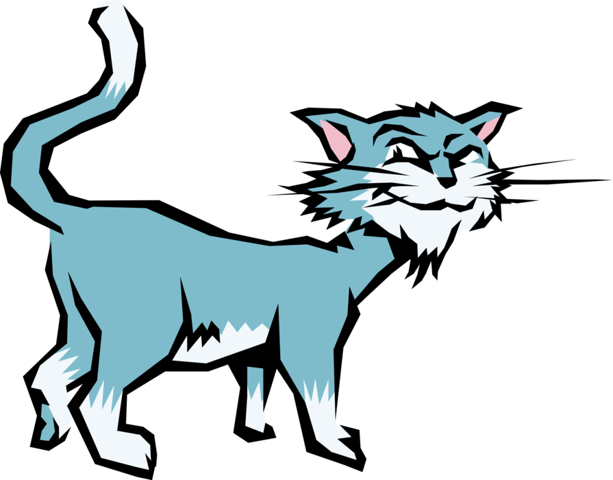 Vector Illustration of Cartoon Domesticated Carnivore Family Pet Kitten Cat