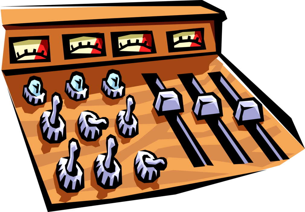 Vector Illustration of Recording Studio Mixing Board