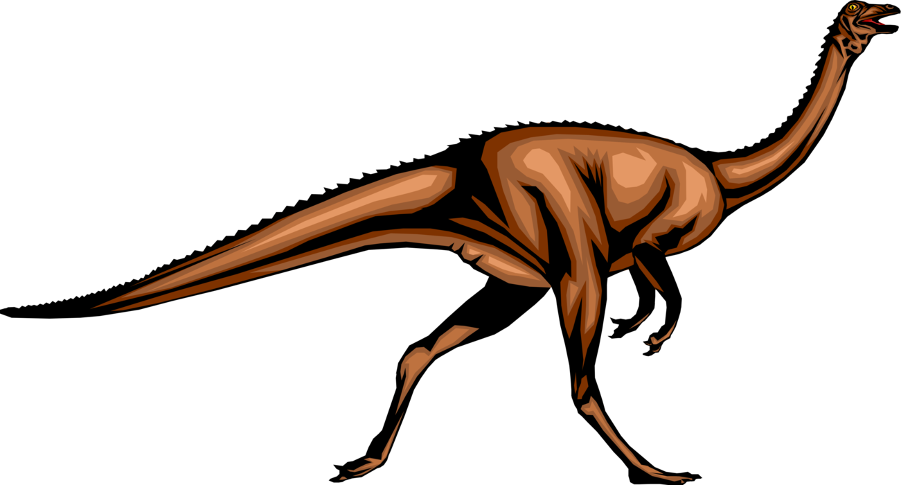 Vector Illustration of Prehistoric Dinosaur from Jurassic and Cretaceous Periods Running