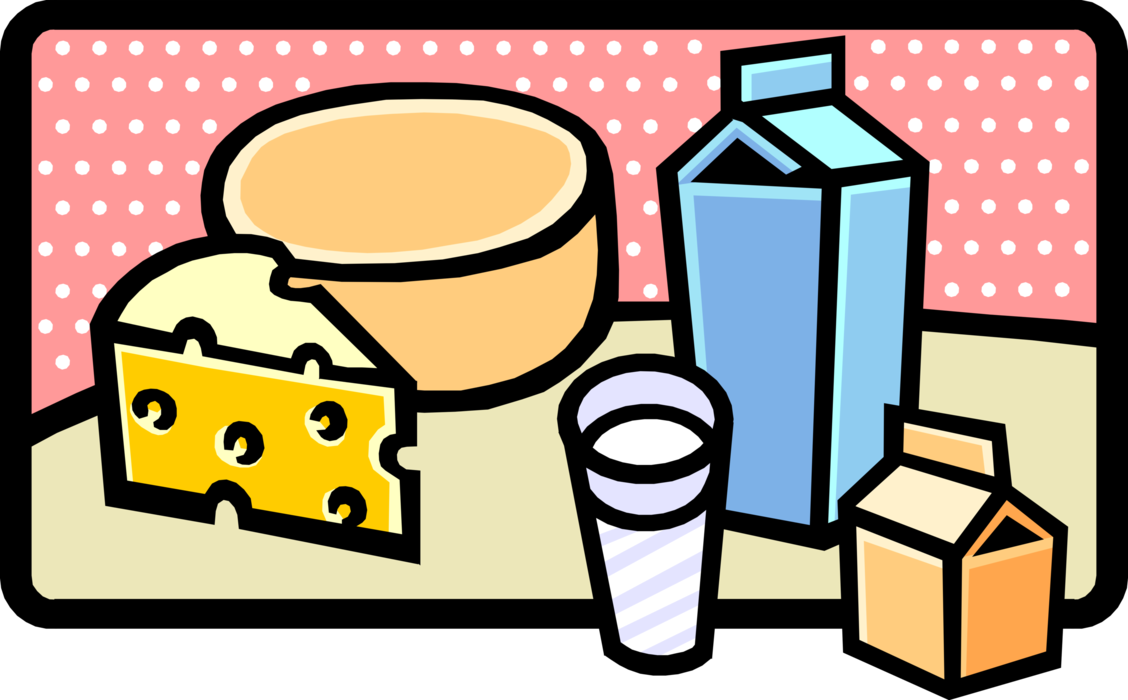 Vector Illustration of Fresh Cheese and Milk Dairy Products