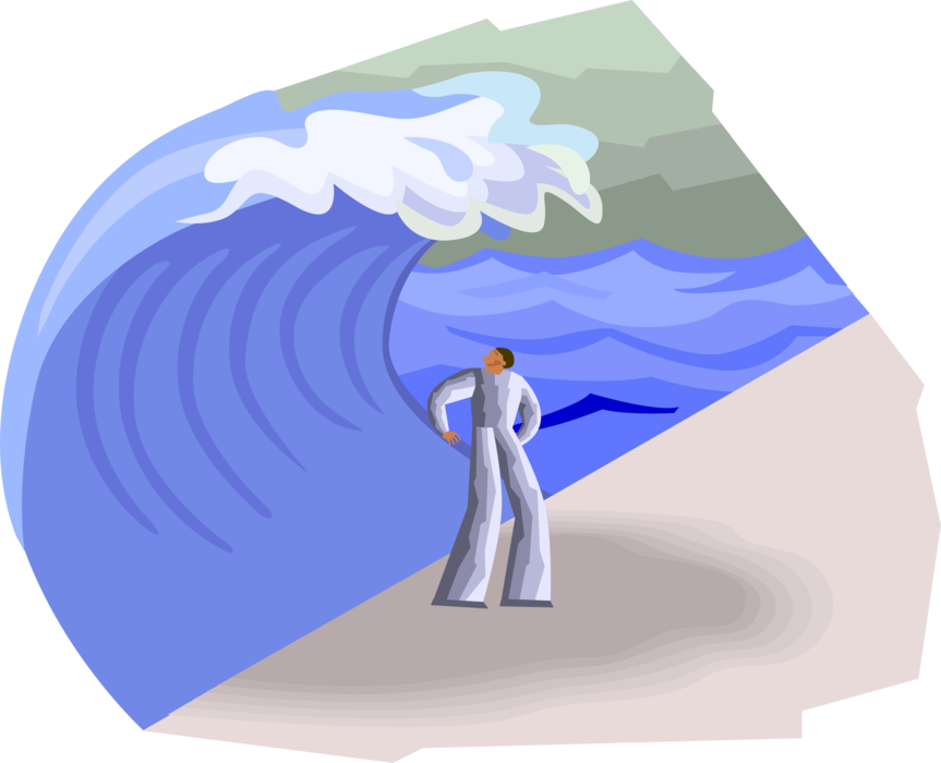 Vector Illustration of Figure About to Be Overtaken by Large Tsunami Wave