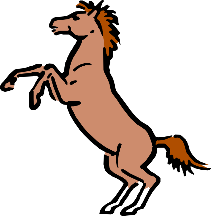 Vector Illustration of Cartoon Solid-hoofed, Quadruped Stallion Horse