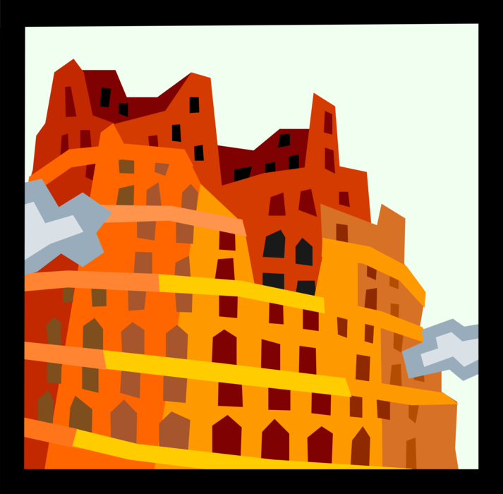 Vector Illustration of Tower of Babel Etiological Myth Explains Origin of Languages
