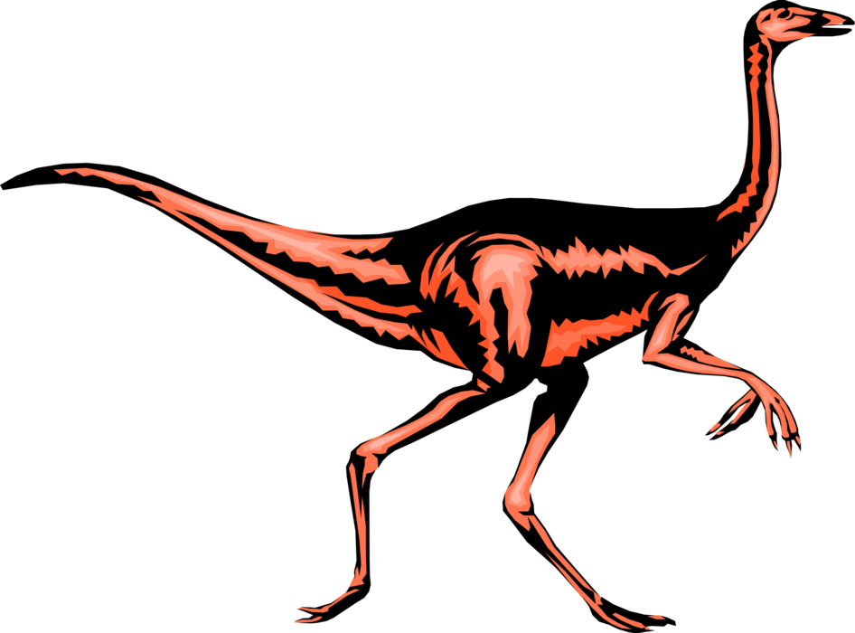 Vector Illustration of Prehistoric Dinosaur Raptor from Jurassic and Cretaceous Periods in Search of Prey
