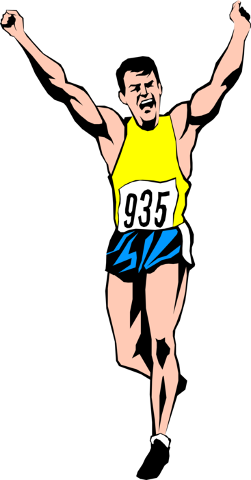 Vector Illustration of Track and Field Athletic Sport Contest Runner Finishing Race Winner