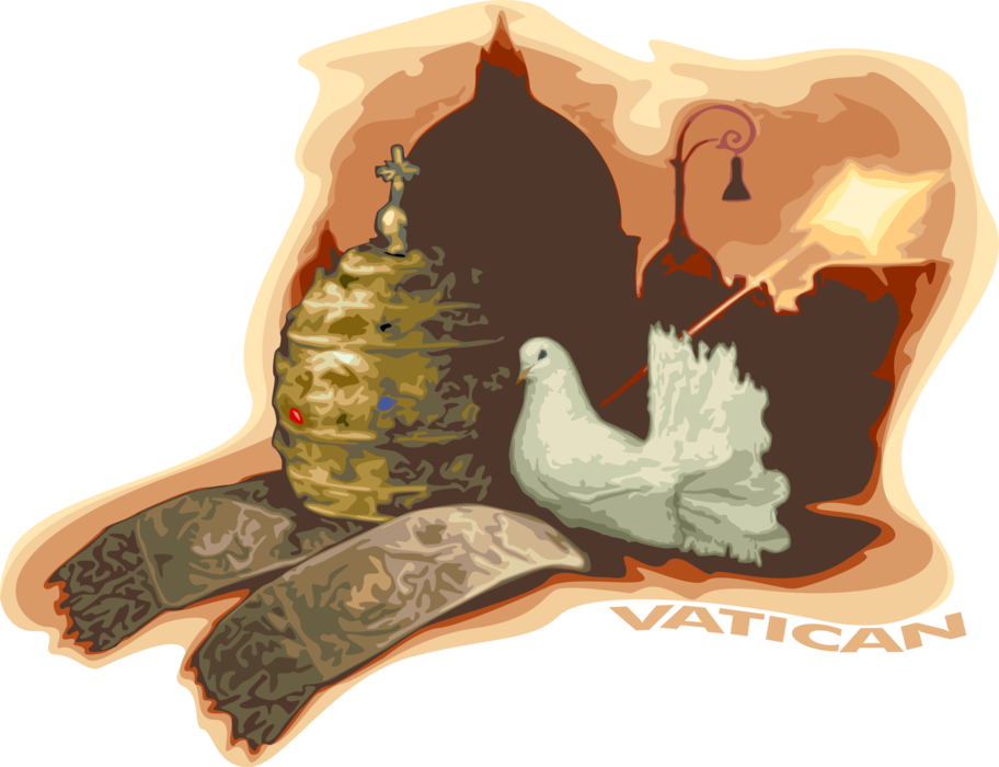 Vector Illustration of Vatican in Rome, Italy with St. Peter's, Papal Gold Tiara Crown and Vestments, Dove Bird