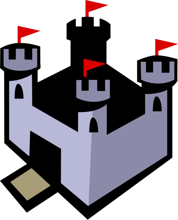 Vector Illustration of Fortified European Castle Keep Structure from Middle Ages