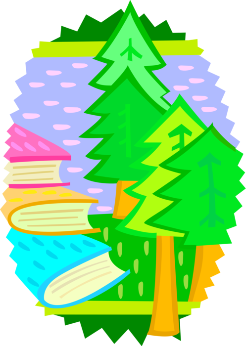 Vector Illustration of Deforestation with Forest Trees and Paper Printing Industry Books