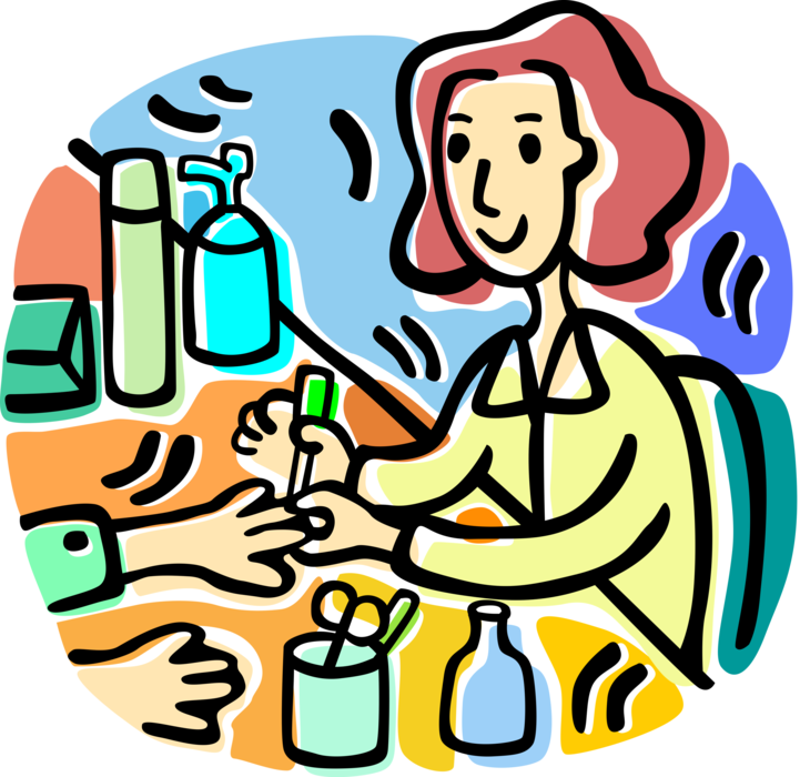 Vector Illustration of Manicurist Nail Technician Provides Manicure Cosmetic Treatment