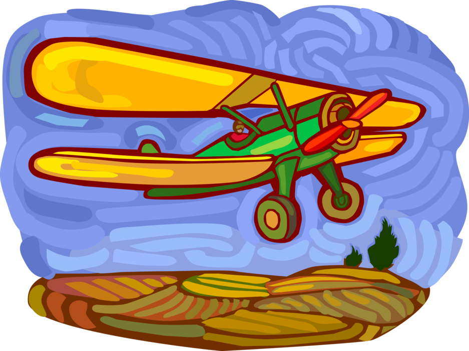 Vector Illustration of Biplane Fixed-Wing Aircraft with Two Main Wings in Flight