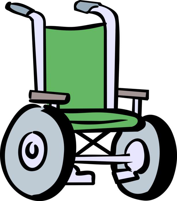 Vector Illustration of Handicapped or Disabled Wheelchair used by Injured or Disabled People