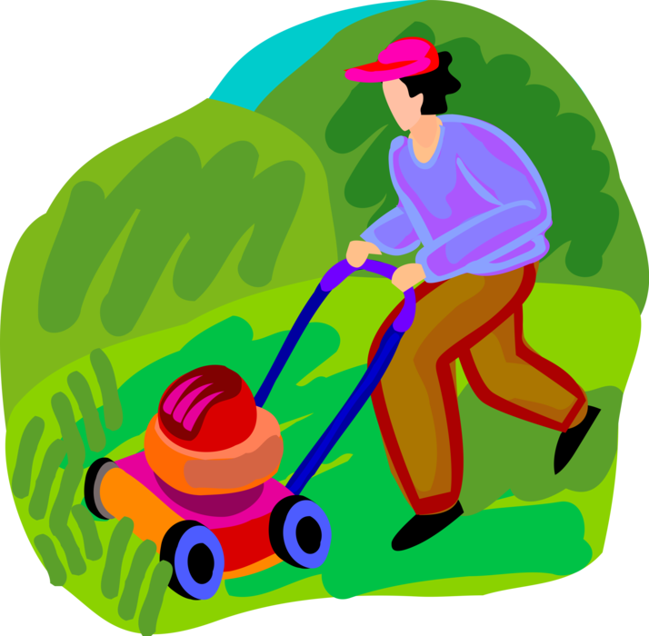 Vector Illustration of Yard Work Lawn Mower Cutting the Grass