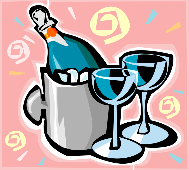 Vector Illustration of Champagne Carbonated Sparkling Wine Chilling in Ice Bucket with Glasses