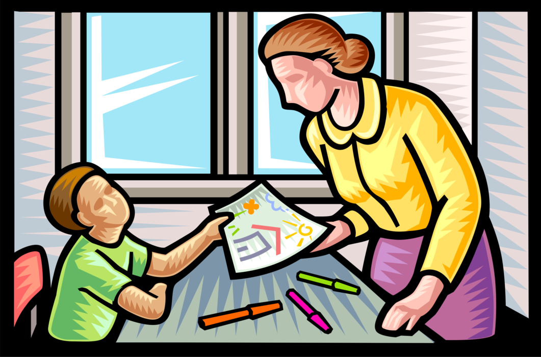 Vector Illustration of Student Shows Teacher Finished Artwork Drawing in Classroom at School