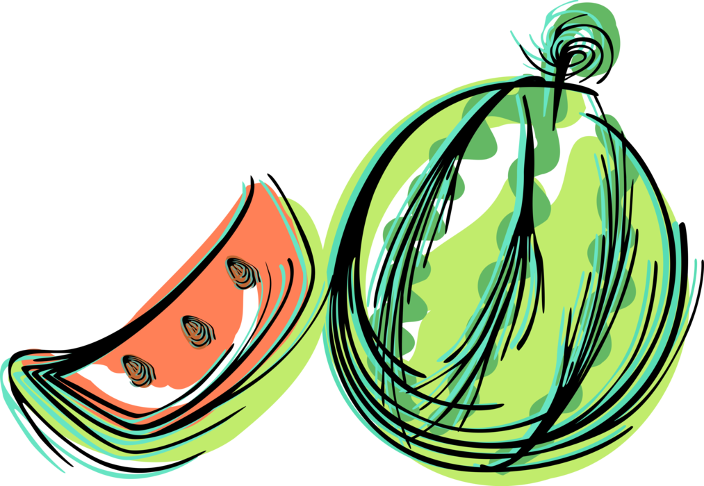 Vector Illustration of Slice of Fruit Watermelon