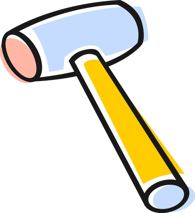 Vector Illustration of Rubber Mallet Hammer Tool used in Construction, Woodworking, and Auto-Body Work
