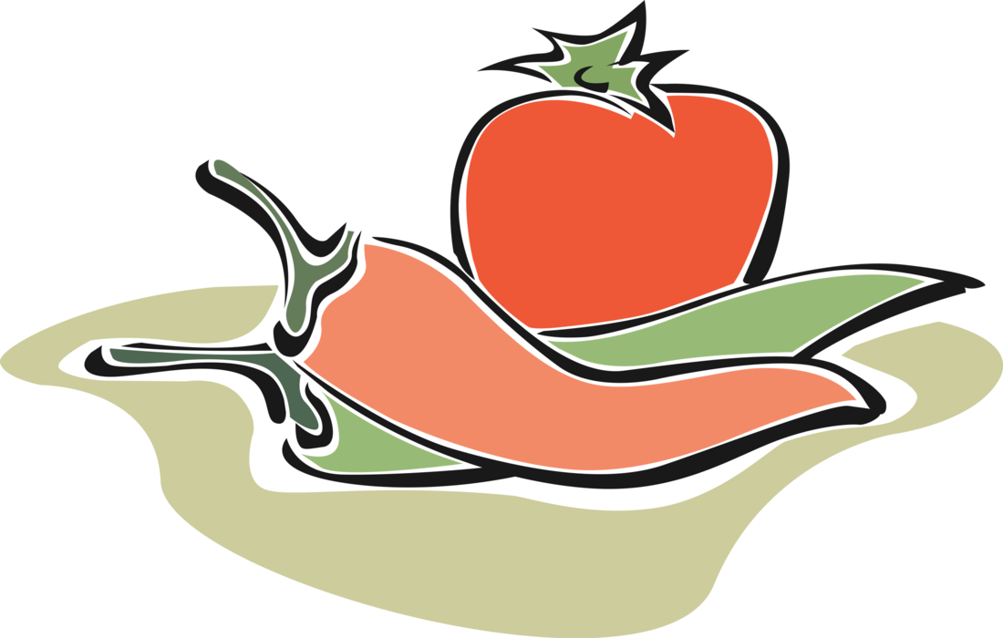 Vector Illustration of Tomato with Red and Green Chili Peppers