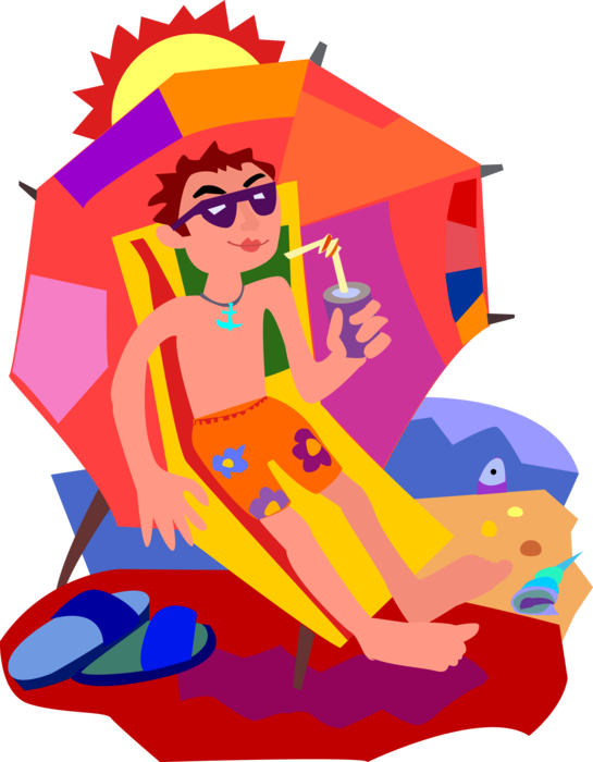 Vector Illustration of Suntanning and Relaxing on the Beach