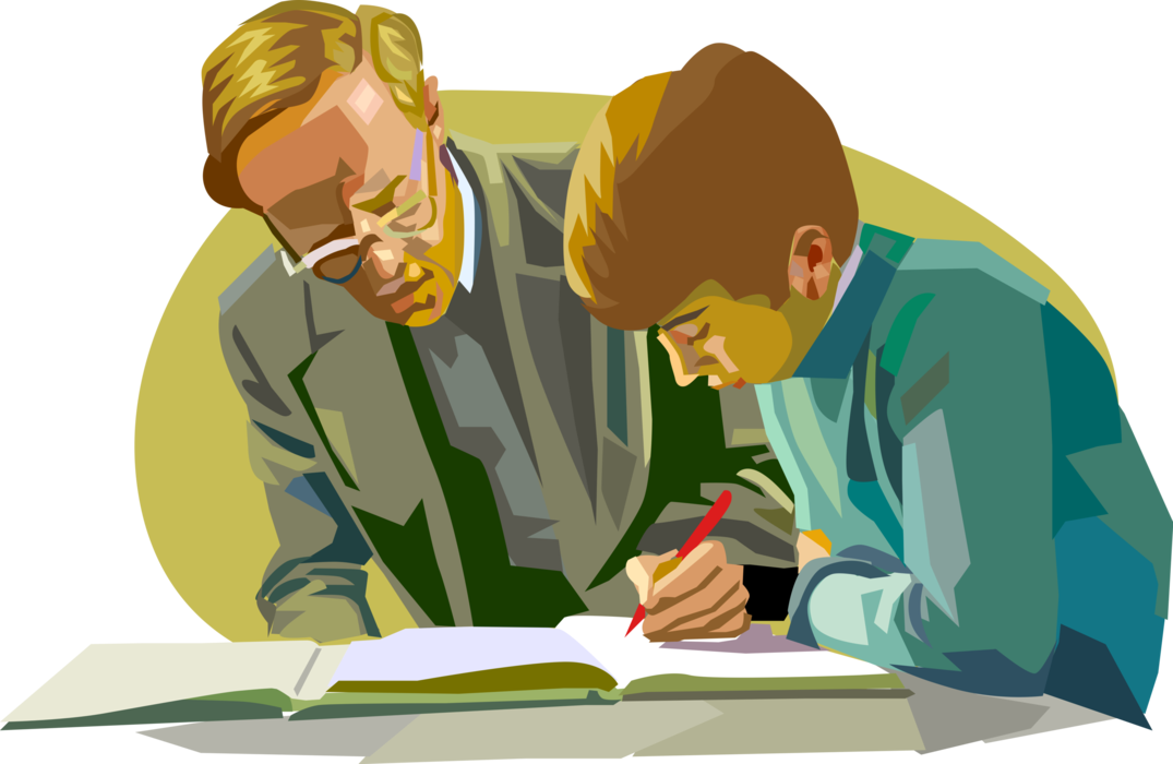 Vector Illustration of Teacher Helps Student in School Classroom with Problem