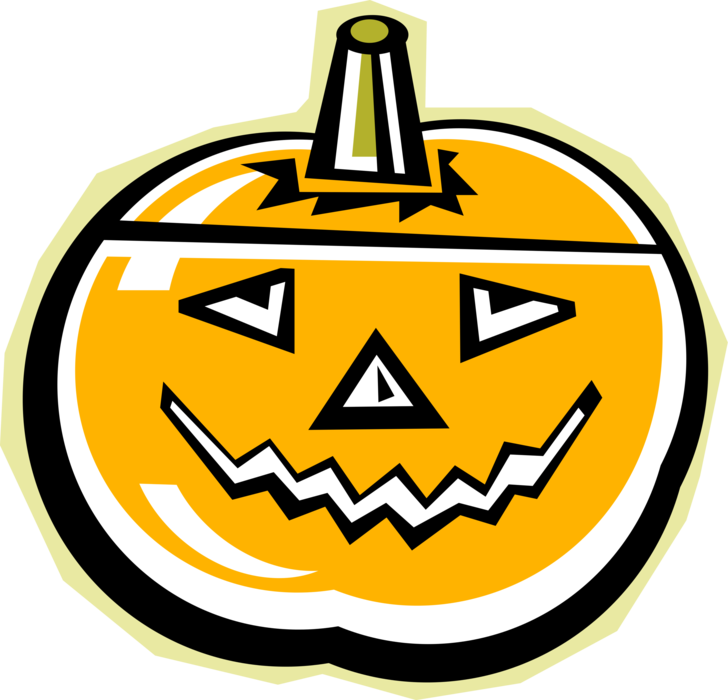 Vector Illustration of Halloween Trick or Treat Jack-o'-Lantern Carved Pumpkin